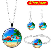 Burung Flamingo Art Photo Cabochon Kaca Perhiasan Set Silver Fashion Kalung Gelang Anting-Anting Perhiasan Set untuk Wanita Hadiah(China)
