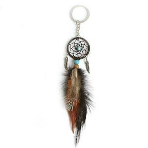 Image 2 - Dreamcatcher Car Ornaments Pendant Hanging Decoration Ancient Silver Leaves Key Chain Catch Dream Net Key Ring