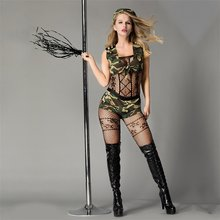 DUOJIAOYAN Sexy Army Costume Suit 5pcs/Set Women Soldier Role Play bodysuit Polyester Camouflage cosplay Costumes(China)