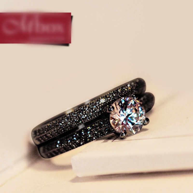 Feminino Vintage Cristal Redonda Anel de Casamento Set Moda Preto Ouro Nupcial Anel de Noivado Promessa Zircon Pedra Anéis Para As Mulheres