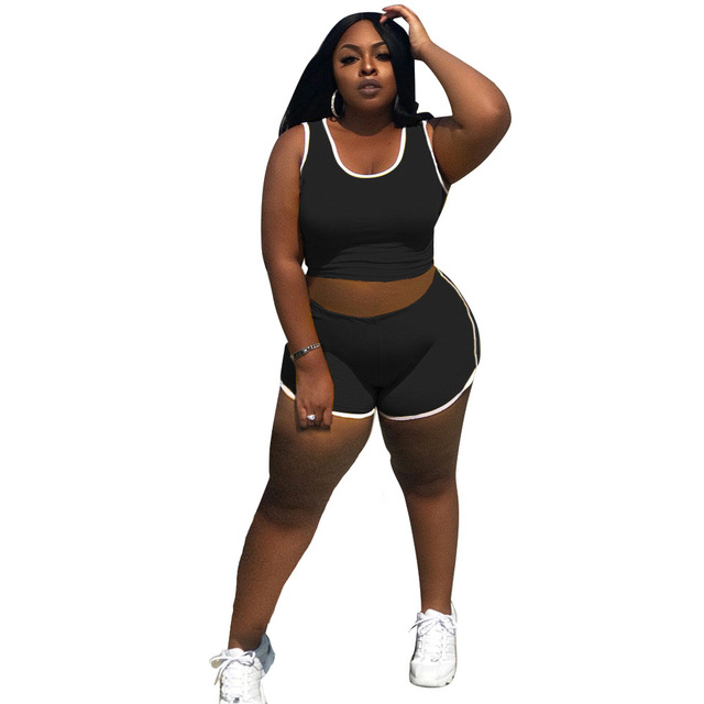 Women Casual Solid 2PCS Tracksuits 2021 Summer Sleeveless Round Neck Vest + High Waist Shorts Comfortable Yoga Outfits 3 Colors 3
