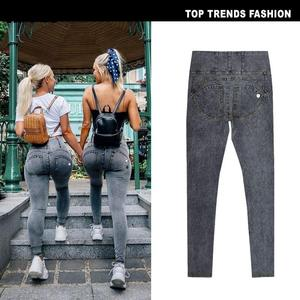 Image 2 - סקסי גבוהה מותן ג ינס אישה אפרסק לדחוף את ירך סקיני ג ינס גמישות מכנסיים בתוספת גודל נשים ג ינס שחור אפור חיל הים כחול
