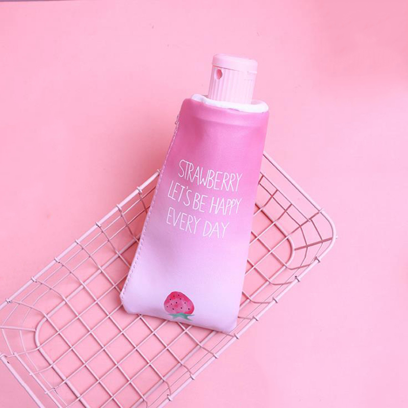Купить с кэшбэком Fruit Strawberry Toothpaste With Pencil Sharpener Pencil Case for Girls Boys Stationery Cute  PU Big Pencil BagSchool Supplies