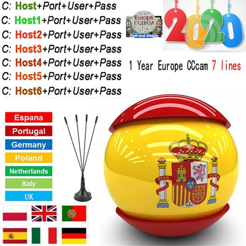 Cccam Europa 7lines For 1 Year Spain Used For Freesat V7 V7S V8 DVB-S2 CCcams 7Cline Satellite Receiver Europe Channels