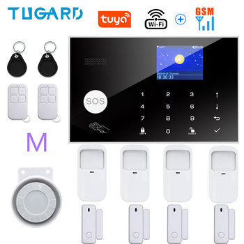 Tugard Tuya Wifi Gsm Home Burglar Security Alarm System 433MHz Apps Control LCD Touch Keyboard 11 Languages Wireless Alarm Kit 20