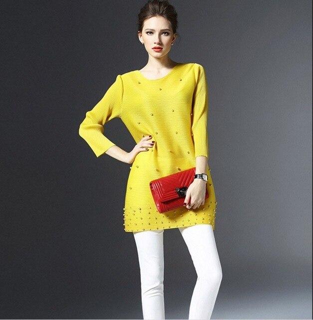 Primavera mujer ropa camiseta larga Simple Please plisado Midi manga suelta camisas de color liso rebordear Casual camiseta ropa de trabajo