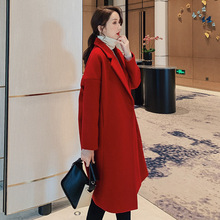 Autumn Winter Elegant Overcoat Women Wool Blend Coat Long Sleeve Turn-down Collar Outwear Jacket