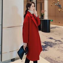 цены на Autumn Winter Elegant Overcoat Women Wool Blend Coat Women Long Sleeve Turn-down Collar Outwear Jacket  в интернет-магазинах