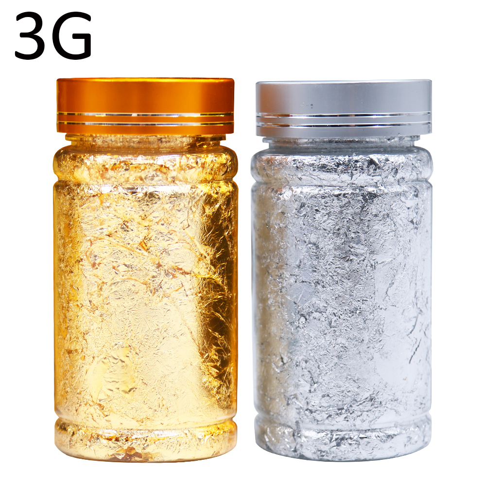 3g Gold Leaf Flakes Gold&Silver Foil Sheets Gilding For Home Decoration Art Crafts Nail Gilded Christmas Glitter Fragments Paper