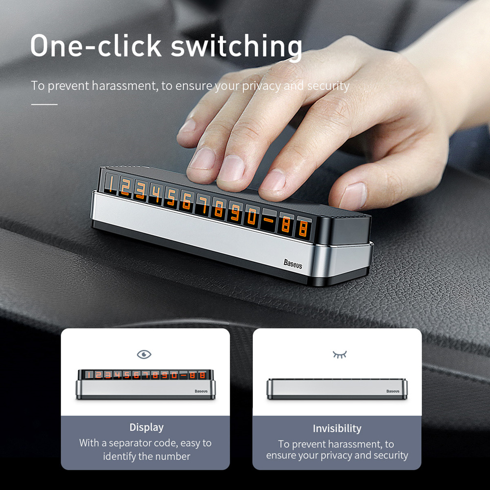 Image 2 - Baseus Car Temporary Parking Card Telephone Number Holder Auto Park Mobile Phone Number Plate Car Numbers Stickers-in Car Stickers from Automobiles & Motorcycles