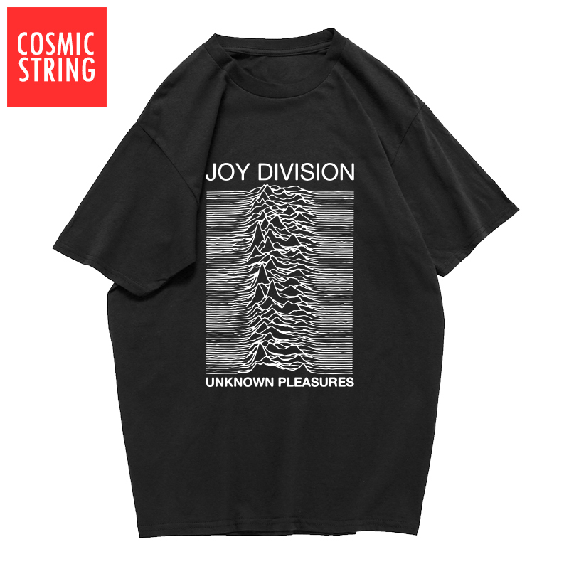 COSMIC STRING 100% cotton summer men's T-shirts Joy Division Unknown Pleasure punk COOL T-shirt rock hipster t shirt tee shirts