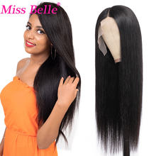 Straight Lace Human Hair Wigs Bone Transparent Brazilian 4X4 Lace Closure Wig Human Hair 13X1 T Part Lace Wig Remy Miss Belle