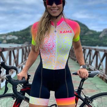 Bicicleta de estrada xama roupas femininas roupas ciclismo sexy macacão colômbia downhill terno triathlon esportes skinsuit ropa ciclismo 1