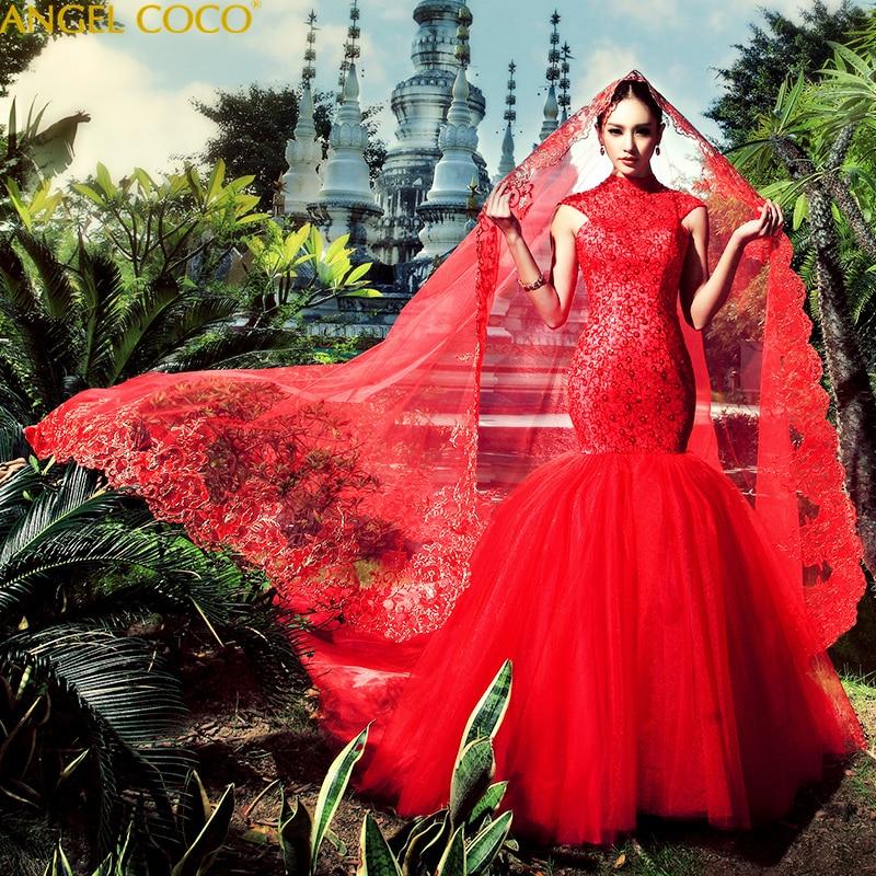 Mermaid Wedding Dresses Luxury princess elegant long plus size vintage Muslim wedding dress 2020 Red Wedding Gowns Bridal Dress