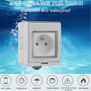 Image 2 - ACCKIP החדש עמיד למים IP55 Wifi חכם כוח שקע טיימר חיצוני תקע Tuya APP קול שלט רחוק צרפת תקע