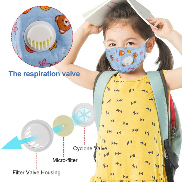 3 PCS Cartoon PM2.5 Children Mask With 6 Filters Breath Valve Mouth Face Mask Kids Washable Mask Dust-proof Sterile In Stock 4