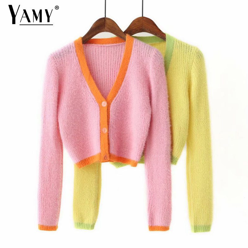 Pink Cardigan Women Sweaters Korean Crop Sweaters Autumn Tops Long Sleeve V Neck Short Cropped Cardigan Mohair Sweater Fall 2019