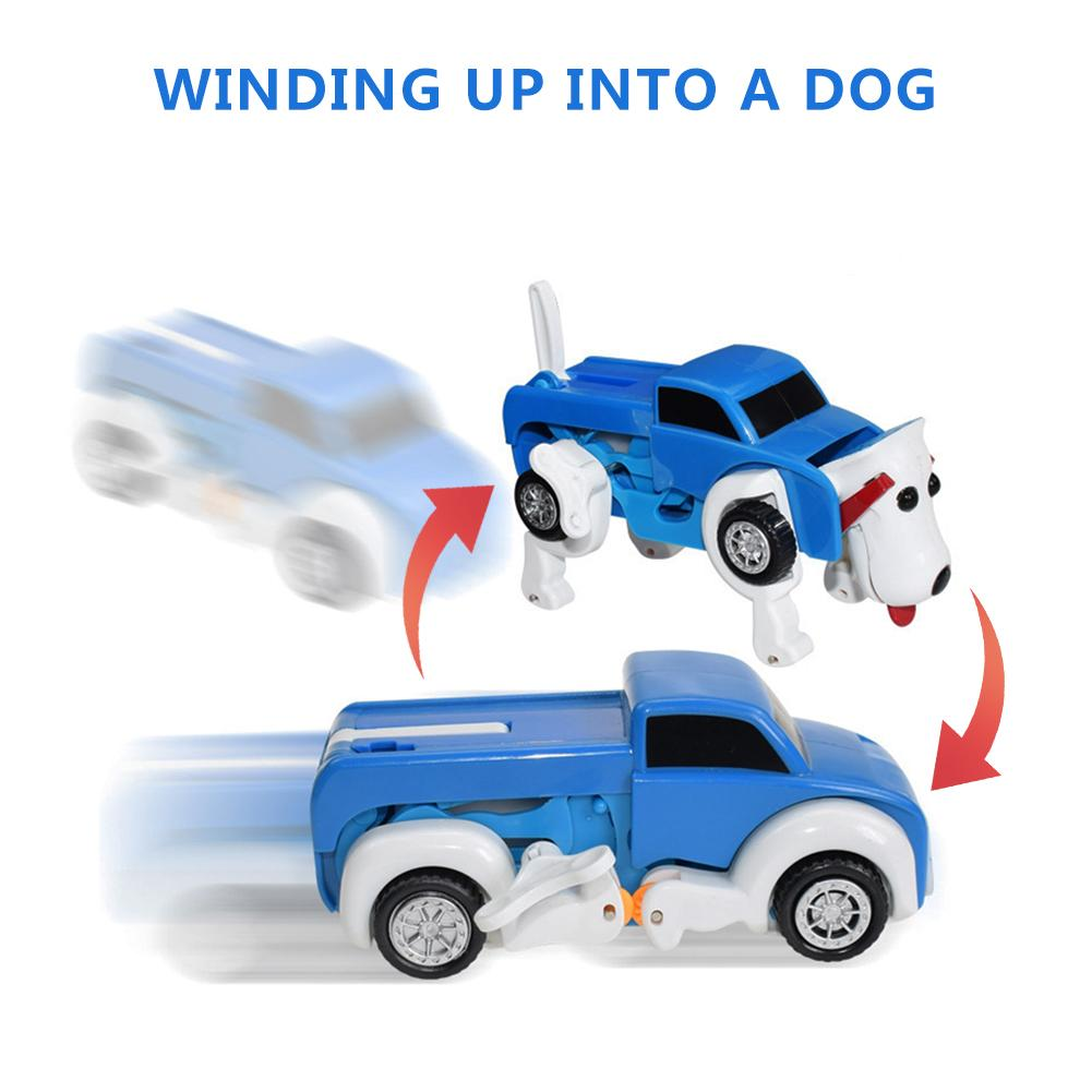 Kids Clockwork Dog Car Toy Deformable Transform Dog Car Toy Deformed Car Gift For Children Perfect Decoration In Stock