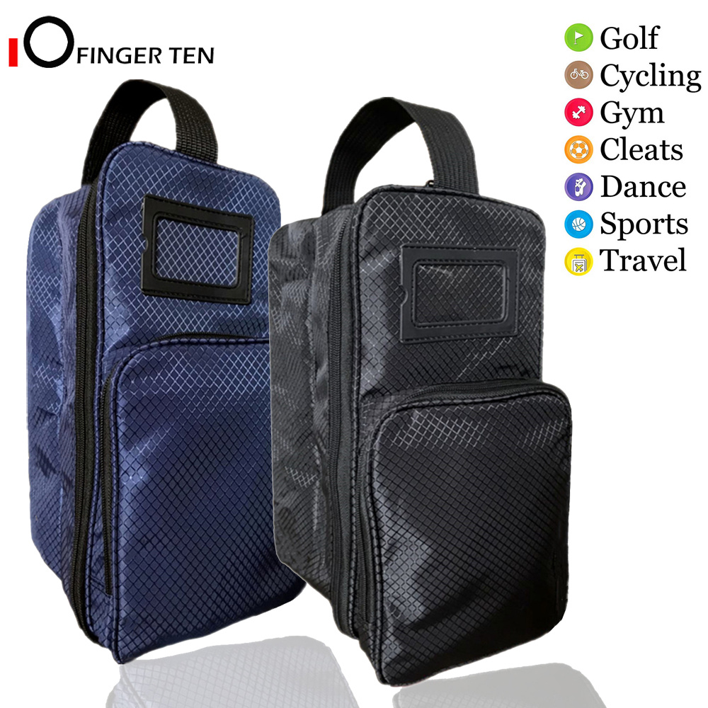 Golf Shoe Bag Zippered Sports Travel Shoes Case With Outside Pocket Pack, Convenient Lightweight Carrier For Men Women