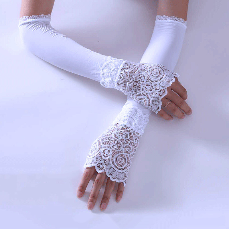 Women Sunproof Ice Silks Arm Sleeve Lace Sun UV Protection Cooling Sleeves For Outdoor Sports -MX8