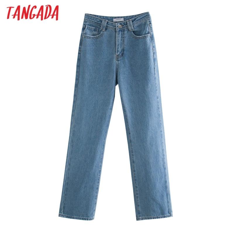 Tangada 2020 на осень зиму женские синие длинные джинсы, штаны для девочек, брюки с карманами и пуговицами женские прямые брюки 4M57 Широкие джинсы    АлиЭкспресс