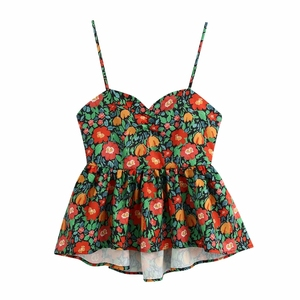 New 2020 women tropical print casual sling blouse lady sexy backless lace up spaghetti strap shirt chic beach blusas tops LS6615