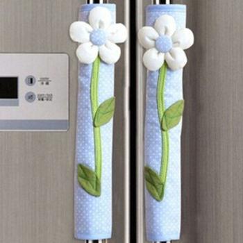 Lodówka klamka rękawiczki 1 para kwiatowy wzór w sielskim stylu Polka Dot drzwi lodówka osłona klamki Home Decor akcesoria kuchenne tanie i dobre opinie Beeinch CN (pochodzenie) Poliester bawełna PRINTED Duszpasterska Refrigerator gloves