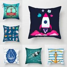 Fuwatacchi Cartoon Ocean Anchor Throw Pillow Case Cushion Covers Rudder Compass Cover for Home Sofa Decor Pillowcases