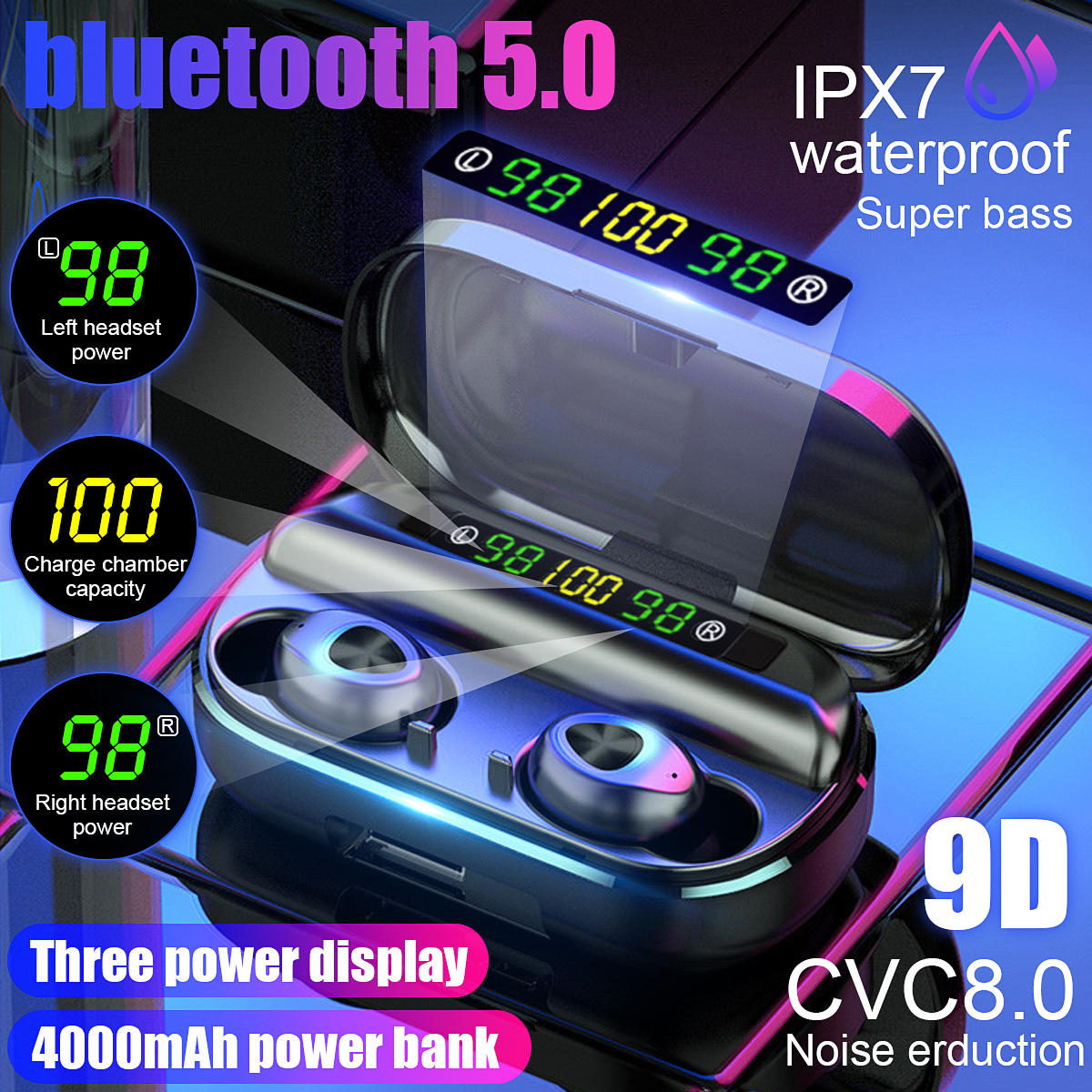 TWS 4000mAh v5 0 bluetooth Stereo Wireless Earphones Waterproof Earbuds With 3 LED Display Sport Wireless Headsets