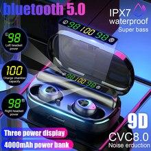 Tws 4000mah v5.0 bluetooth estéreo sem fio fones de ouvido à prova dwireless água com 3 display led esporte sem fio