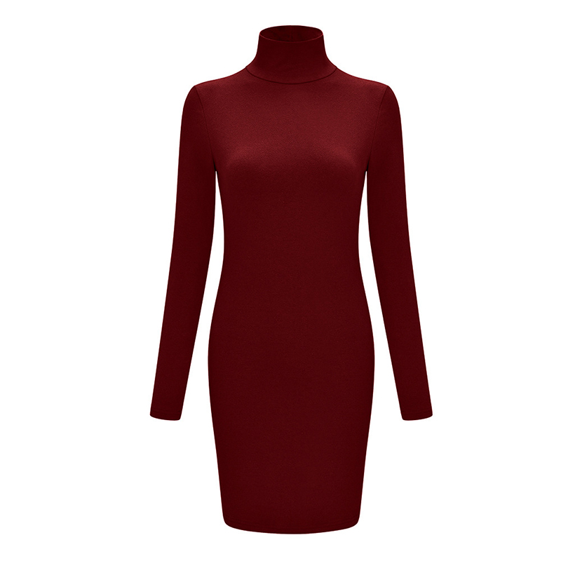 ZAATON®  New stand collar long sleeve solid color sexy slim hip dress 4