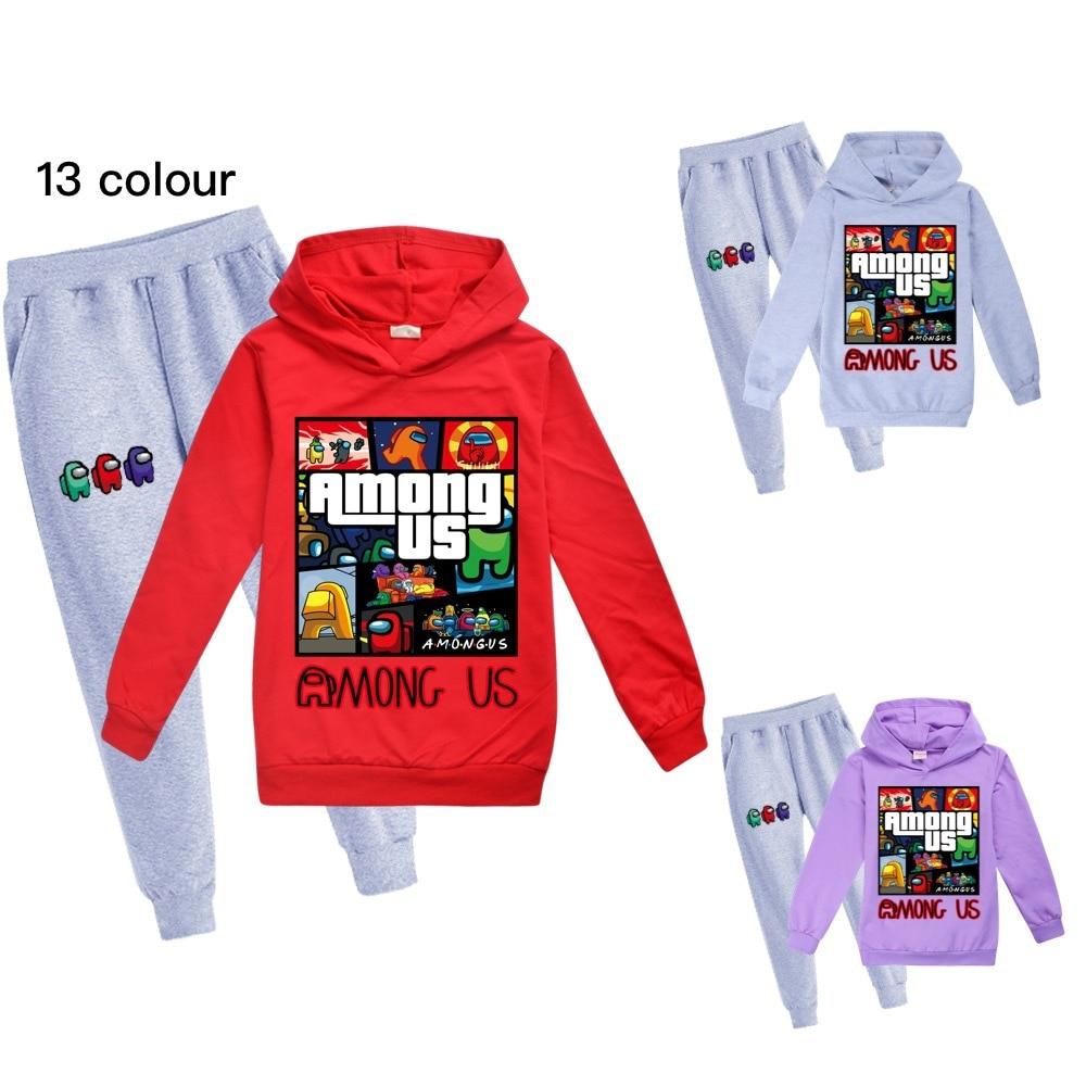 Çocuk giyim kapşonlu takım elbise erkek 2-16 yaş spor setleri baskı ile genç açık eşofman karikatür takım elbise 2 adet