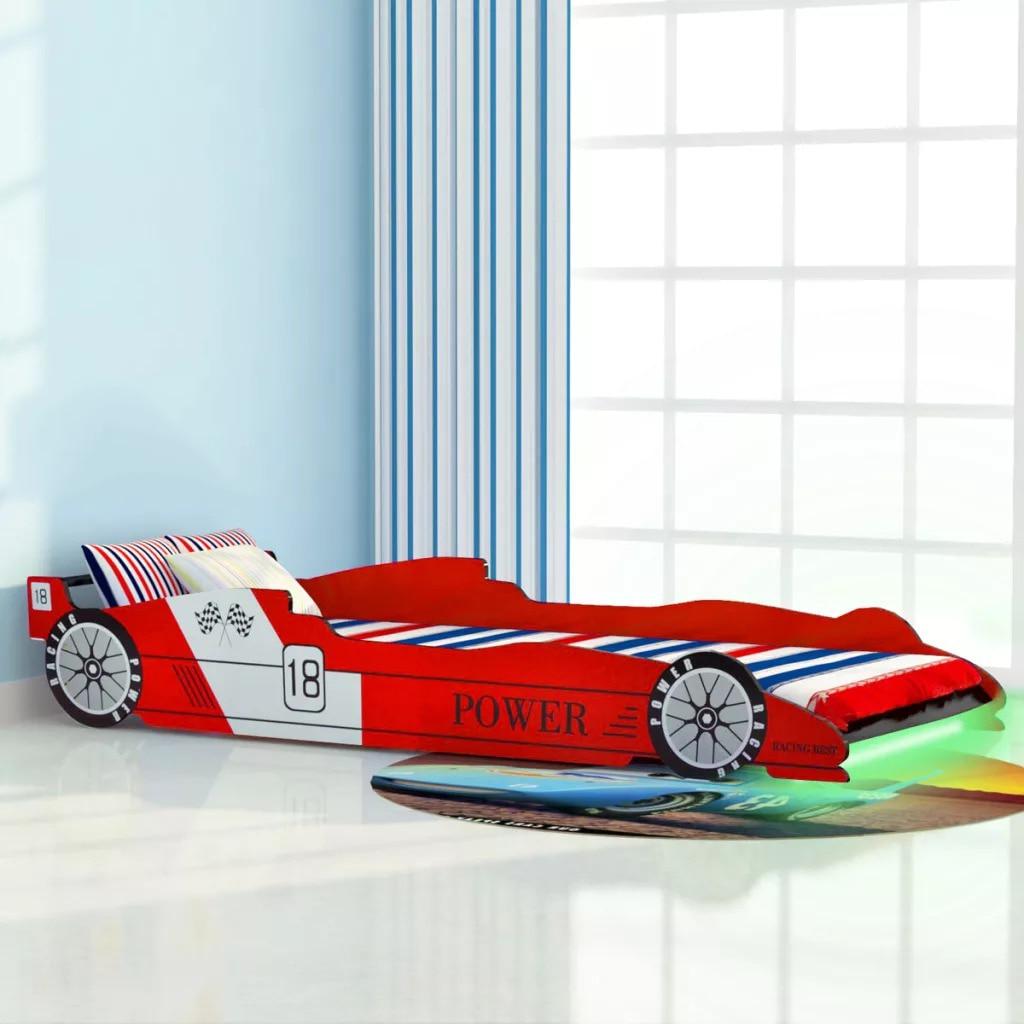 VidaXL Children'S LED Race Car Bed 90x200 Cm Red 243936