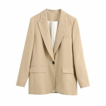 Abrigo de traje informal liso con bolsillo decorativo para mujer, prenda de abrigo de manga larga a la moda para mujer, Tops holgados de oficina C930