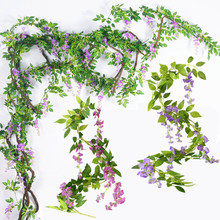 1.8M Wisteria Artificial Flower String Vines Wedding Party Hanging Decoration Ho