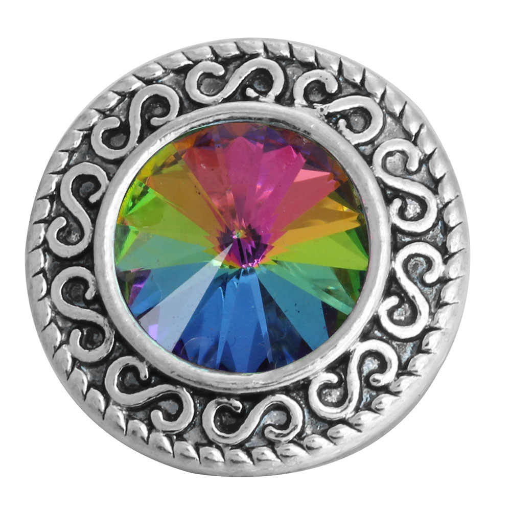 6 יח'\חבילה חדש הצמד כפתור תכשיטי צמידי קסם מתכת קריסטל ריינסטון צבעוני 18mm הצמד כפתורי Fit DIY הצמד צמיד