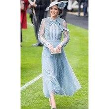 נסיכת קייט מידלטון שמלת 2020 מסלול באיכות גבוהה אישה שמלת קשת צוואר ארוך שרוול רקמת רשת אלגנטי שמלות NP0735C
