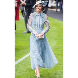 Image 1 - Prenses Kate Middleton elbise 2020 yüksek kalite pist kadın elbise yay boyun uzun kollu nakış örgü zarif elbiseler NP0735C