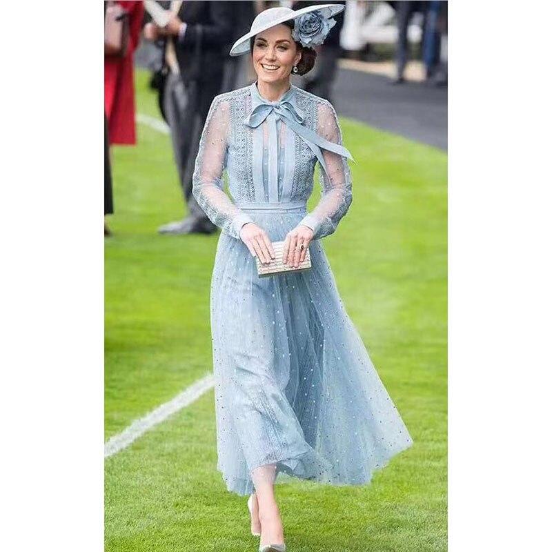 Princesse Kate Middleton robe 2019 haute qualité piste femme robe noeud cou à manches longues broderie maille robes élégantes NP0735C