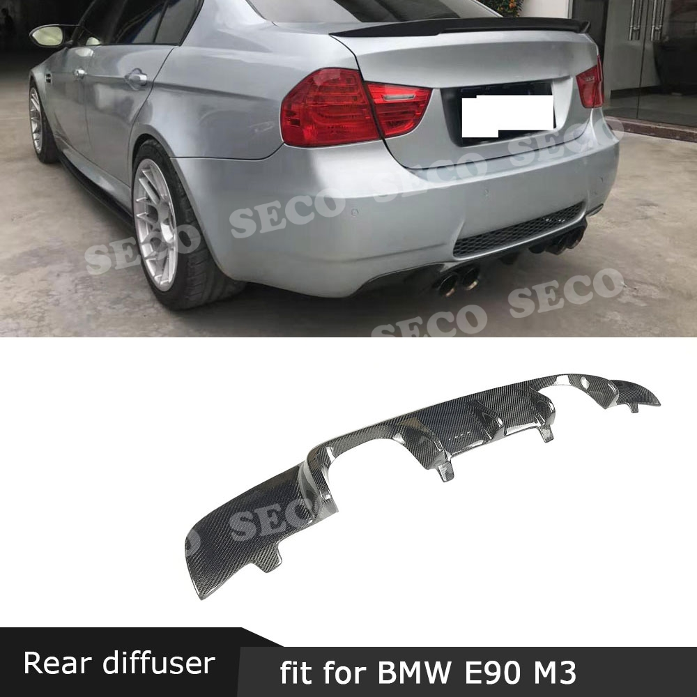 For BMW 3 Series E90 M3 2007-2011 Rear Lip Diffuser Spoiler Carbon Fiber / FRP Back Bumper Hugger Cover Plate Guard Car Styling image
