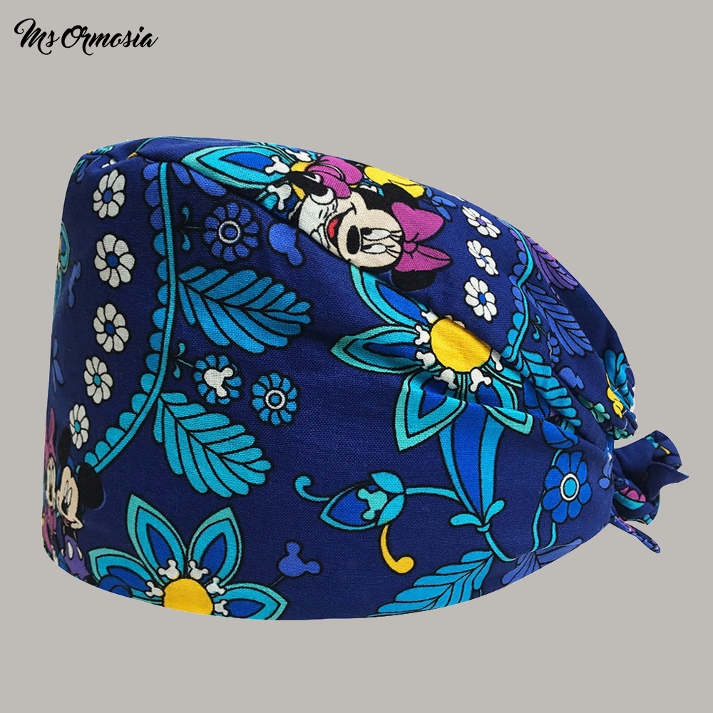 High Quality Blue Printed Men And Women 100% Cotton Operating Room Surgical Cap Elastic Band Nurse Cap Hospital Doctor Hat New