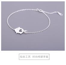 S925 sterling silver hand-drawing piglet bracelet