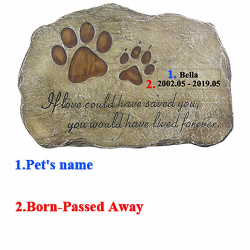 Marcador de pedra memorial personalizado da cópia da pata do animal de estimação para o cão ou o gato para a pedra exterior do jardim ou do gramado com nome e data jsys