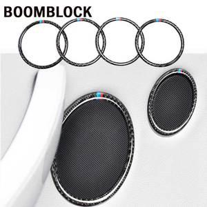 Image 1 - BOOMBLOCK araba iç çıkartması çerçeve hoparlör daire karbon Fiber sticker kapak şekillendirici aksesuarları BMW için X3 F25 X4 F26 5gt f07