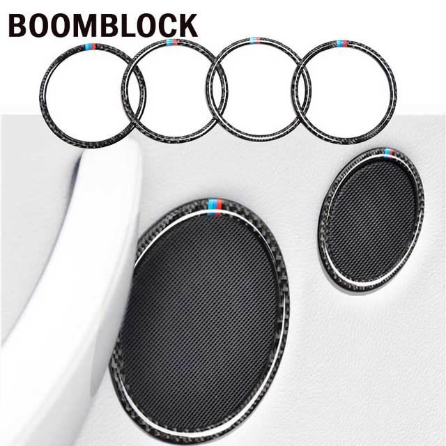 BOOMBLOCK araba iç çıkartması çerçeve hoparlör daire karbon Fiber sticker kapak şekillendirici aksesuarları BMW için X3 F25 X4 F26 5gt f07