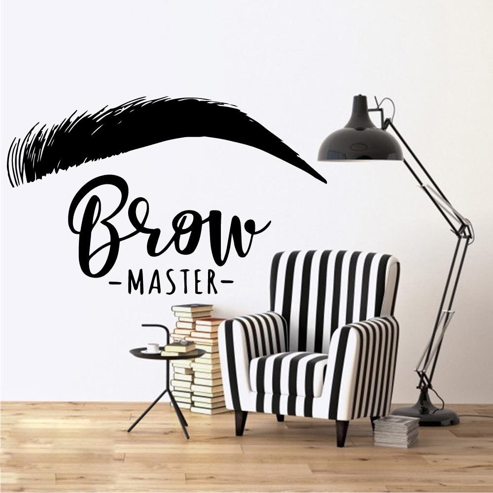 Виниловая наклейка на стену с красивыми бровями и ресницами, наклейка для украшения салона красоты и комнаты, настенные наклейки для бровей и бара