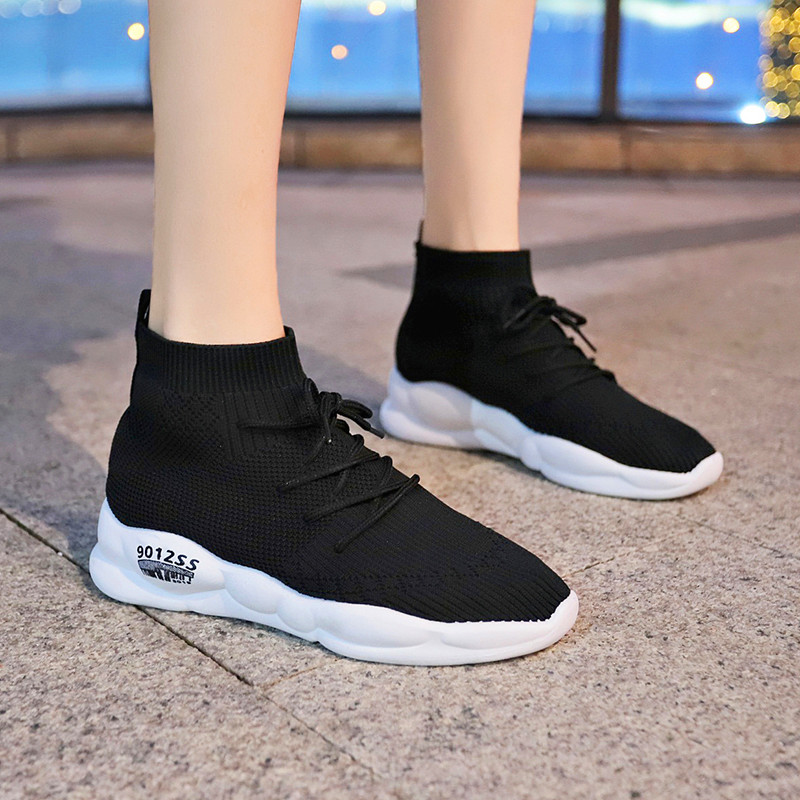 Muscle Bottom Flyknit High Trend Sports Shoes Lightweight Breathable Wear-Resistantfemale Casual Shoes Women's Vulcanize Shoes