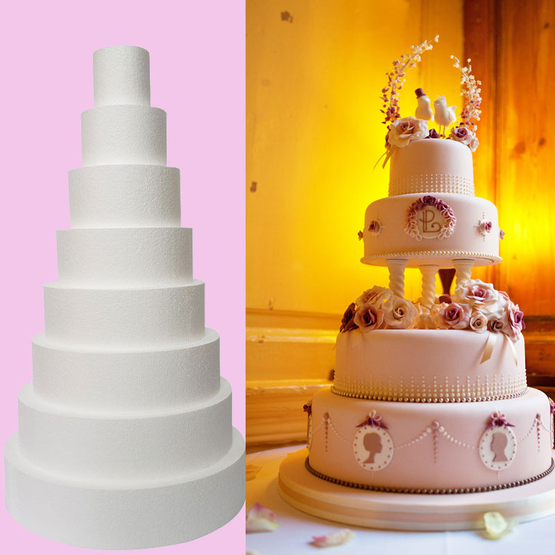 6//8//10in Round Fondant Cake Dummy Wedding Display Fake Cake Foam Models Decors