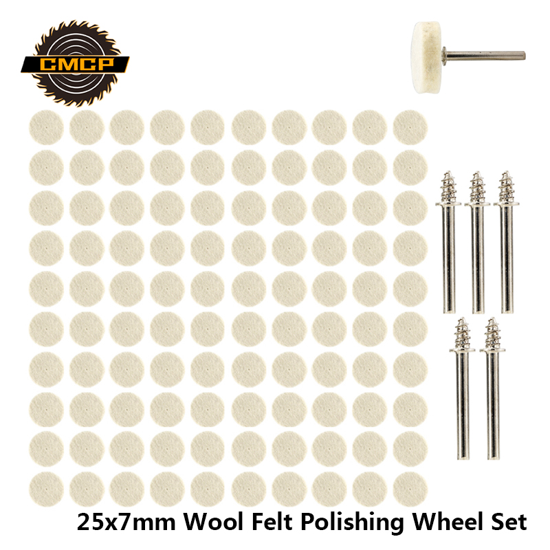 52pcs/105pcs 25x7mm Wool Felt Polishing Wheel Set For Dremel Rotary Tools Buffing Wheel With 3.175mm Shank Mandrel Polishing Pad