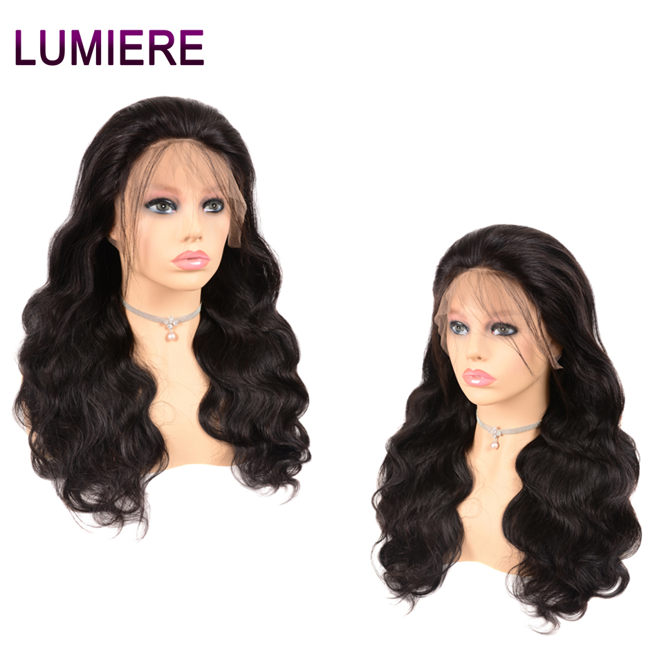 Lumiere Hair 13x4 Lace Front Human Hair Wigs Peruvian Body Wave Wig For Women Lace Wig Remy Hair 150% Density Free Part 1B
